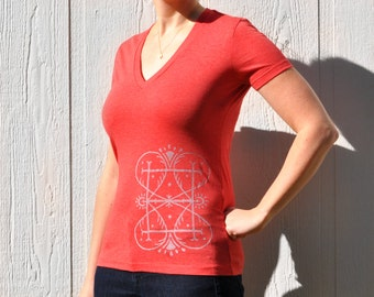 Red T-shirt with Silver Myst Design - Women's V-neck S, M, L - Made to Order