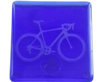 Blue Bike Fused Glass Coaster