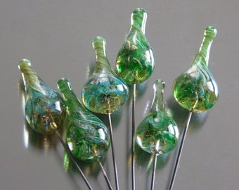 Handmade green infusion glass headpins on sterling silver wire