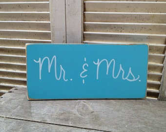 Wooden Turquoise and White Mr. and Mrs. Wedding Photo Prop Sign, Wooden Turquoise Wedding Signage, Reception Signs