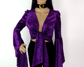 ON SALE Huzzar Design Purple Velvet Punge Tie Top With Wizard Sleeves