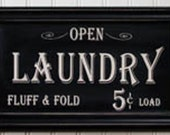 Vintage Style Laundry Sign Primitive Distressed Frame Country Antique Look NEW Black