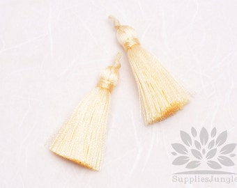 T009-IY// Ivory Rayon Knotted Loop Top Tassel Pendant, 4pcs, 37mm