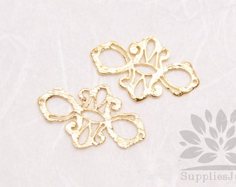 P206-G// Gold Plated Oriental Form Pendent, 2 pcs