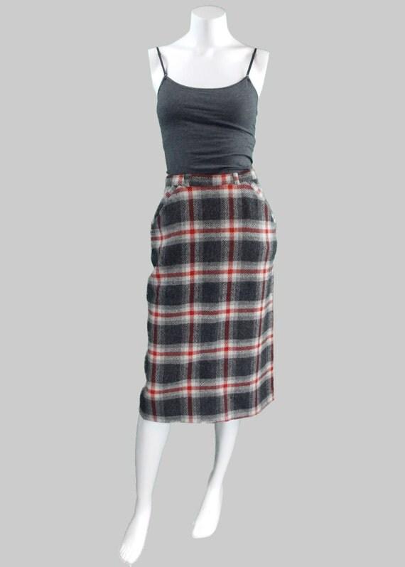 plaid wool pencil skirt size small
