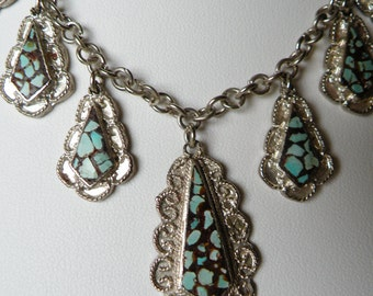 sterling silver and turquoise necklace. made in Italy