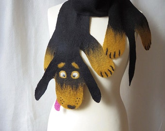 Sausage dog. Pure wool hand felted dachshund kids' scarf