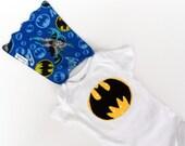 Handmade Appliqued Batman Onesie with attached Cape, Baby cape, baby batman, batman baby shower, baby cape, super hero, DC comics
