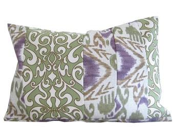 outdoor pillow covers, outdoor chair pillows, outdoor lumbar covers, 12x18 covers, 12x16 covers, purple green pillows, ikat pillow, pillows