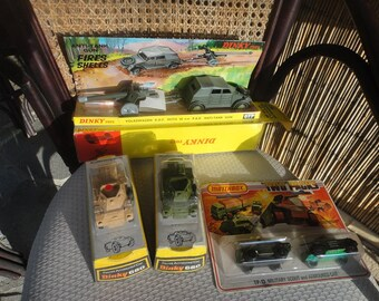 Dinky diecast lot #680 Olive, Beige, #617 and TP13 all in original packaging
