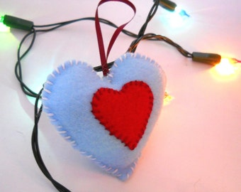Blue and Red Felt Heart Plushie Ornament