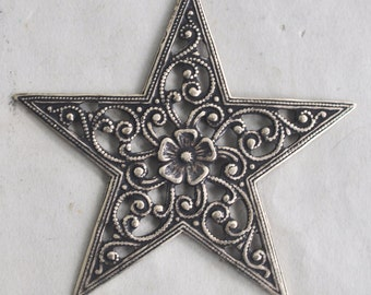 TWO Small Filigree star brass stamping, Brass Ox