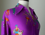 70s Novelty Print Shirt, Blouse, Lady Ronnie