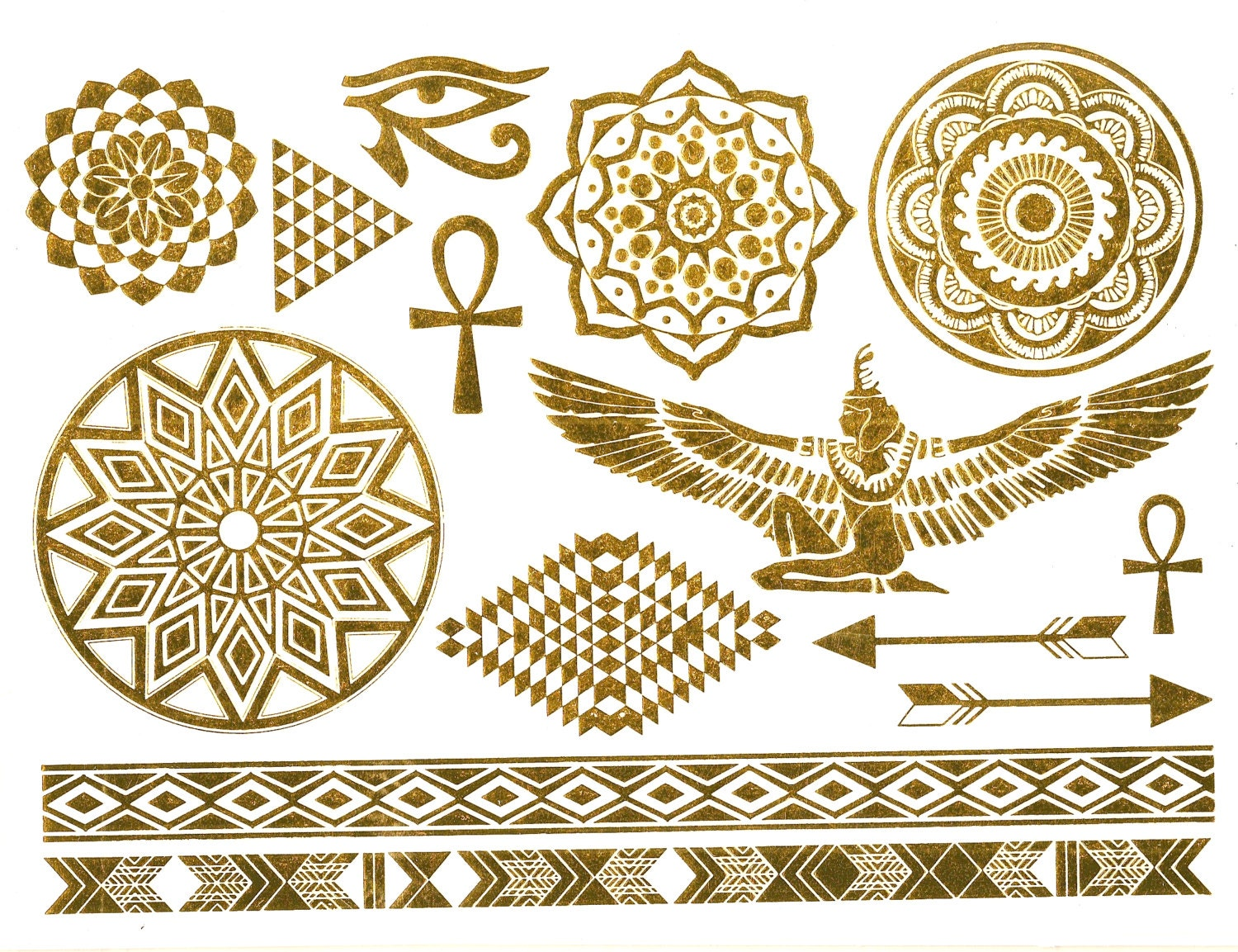 Metallic Temporary Egyptian Inspired Tattoos Gold Silver