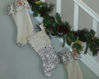 READY TO SHIP: Country Snowflake Stockings without Ruffles