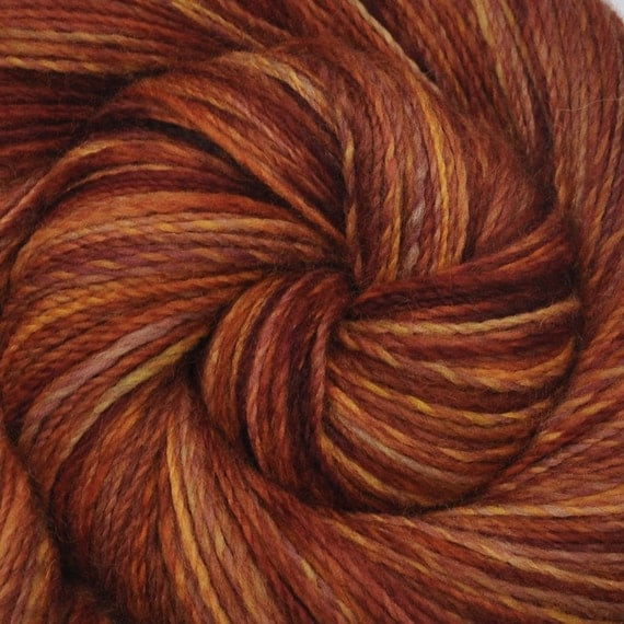 Handspun yarn - GOLDEN TABBY - Hand painted Corriedale wool, fine sport weight. 460 yds.