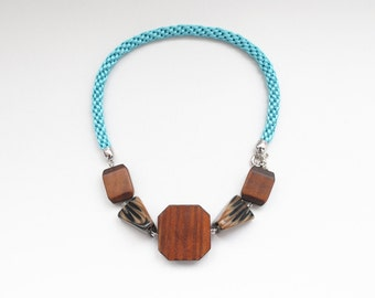 Big wooden beads necklace, statement necklace, wood necklace, kumihimo necklace, tribal necklace, turquoise necklace, braided necklace