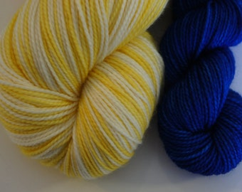 LemonHead with Blue mini skein in Toula Sock, 500 yards, Self Striping, 80/20 SW Merino and Nylon,  Fingering Sock Weight