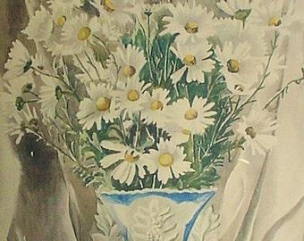 "1939 Collotype Print ""Daisies"" by Georgina Klitgaard ~Colorprint #052 Mid-Century Danish Modernism Wall Hanging Decor"