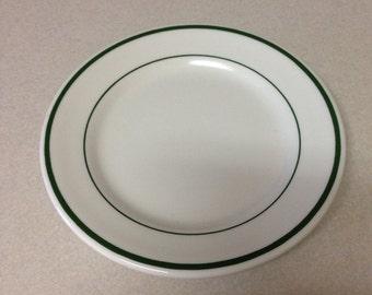 Buffalo China 6 inch Plate Green Band Ironstone Restaurant ware Vintage 1977