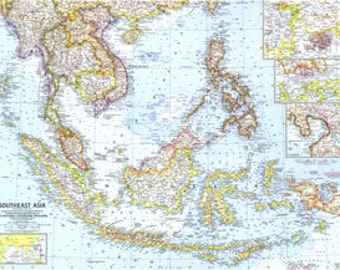 Map of SouthEast Asia 1961 25 x 19
