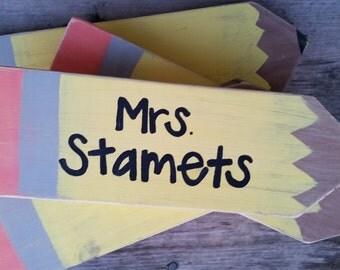 Wooden pencil teacher sign- custom teacher gift - ships next day