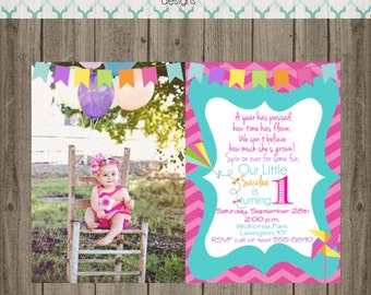 Pinwheel and Kite Birthday Invitation - Pinwheel and Kite Photo Invitation - Digital Image