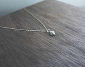 Delicate and dainty sterling silver pyramid diamond stud necklace 18 inch chain silver