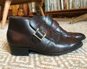 60's cherry brown ankle boots with buckle Mod monkstrap Beatle 8 1/3 39