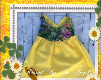 Spring garden yellow dress for toddlers,babies, spring photos prop,summer dress,birthday dress, baby showers