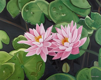Waterlilies- Canvas Print of Oil Painting- Large Wall Art