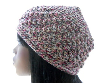 Women's Vegan Hat, Crochet Pixie Top Beanie Hat in Pink and Gray, Beanie with Bobbles, Medium to Large Size