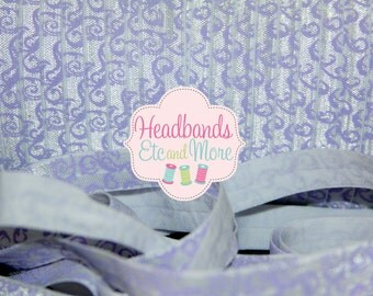 "Save on Shipping! 5/8"" Fold Over Elastic White With Light Purple Swirl Print - FOE - DIY - Baby Headbands - Hair ties"