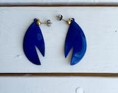Vintage 80's Electric Blue Earrings / Enamel Dangle Pierced Earrings