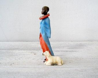 Masai Woman Figurine MRH Sculpture, Tribal Life Woman Miniature, Primitive Culture Art, Colorful Feminine Art