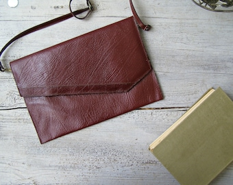 Vintage Leather Envelope Bag, Ipad Tablet Case Bag, Women Shoulder Handbag, Crossbody Bag Leather, Hipster Bag Burgundy, Student Thrift Bag