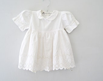 Baby Girl White Dress,  Vintage Eyelet Lace Cotton Summer Mini Dress, Toddler Peasant Dress, Baptism Flower Girl Clothes 18 to 24 Months