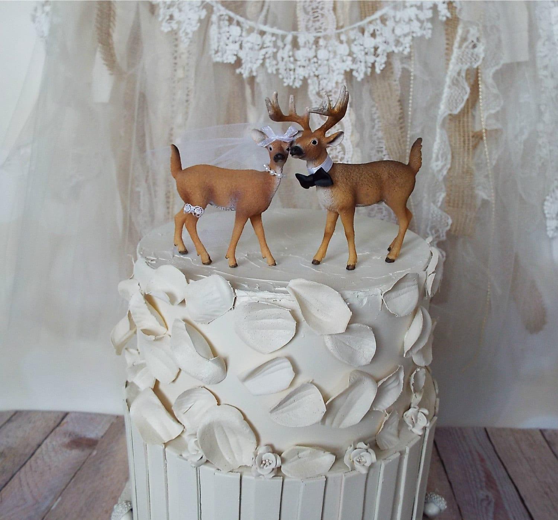 deer hunter bride groom wedding cake by MorganTheCreator