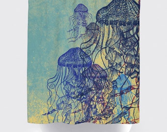 Jellyfish Shower Curtain: Nautical Sea life Water Inspired | Made in the USA | 12 Hole Fabric Bathroom Decor