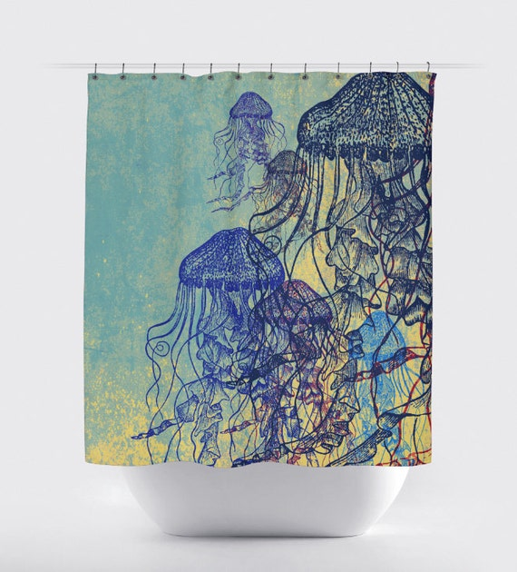 Jellyfish Shower Curtain Nautical Sea Life Water Inspired