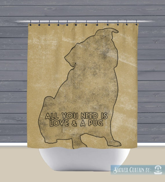 Pug Love Shower Curtain: Love and a Pug | Made in the USA | 12 Hole ...