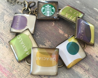 Recycled jewelry Gift card Starbucks bracelet, Thanks a latte, bronze earth tones, thank you gift