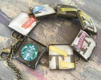 Resin Jewelry, Recycled upcycled repurposed, Starbucks bracelet, Thank you