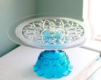 "16"" Blue Cake Stand Pedestal / Cake Plate Cake Platter / Wedding Pedestal Wedding Centerpiece / Cupcake Stand / Sapphire Blue Crystal Glass"