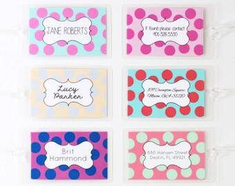 Custom Luggage Tag Polka Dot Personalized Luggage Tag Girls Diaper Bag Tag Dance Team Bag Tags Destination Wedding Favors Travel Gifts Kids
