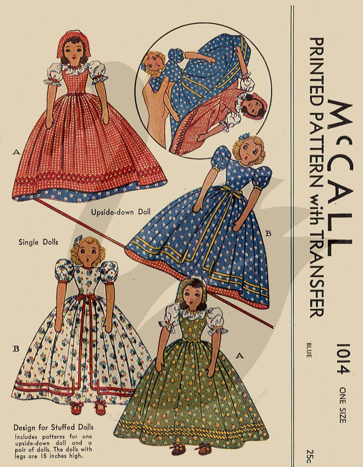Reproduction Vintage Upside Down & Single Dolls Sewing Pattern