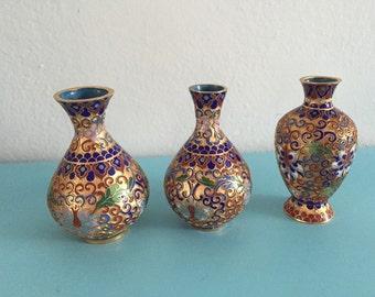 Set of 3 vintage mini cloisanne vases
