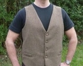 "Legendary Steampunk Victorian Brown Wool Harris Tweed Waistcoat / Vest - Men's 36 38 40 42 44 46 48 50 52"" Chest"