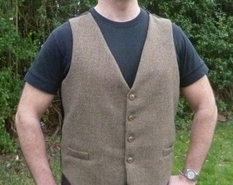 "Legendary Steampunk Victorian Brown Wool Harris Tweed Waistcoat / Vest - Men's 42"" / 106cm Chest"