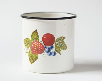 Soviet camping mug, enamelware strawberry cherry currant ornament, white enamel camping mug
